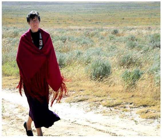 Denver Area Bishop Elaine Stanovsky in September 2010 walks a path at the Sand Creek Massacre National Historic Site in Colorado. UMNS photos by Ginny Underwood.
